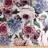 Fabtrends Digital Mikado Bloomed Rose Peony Garden Sage/Mauve