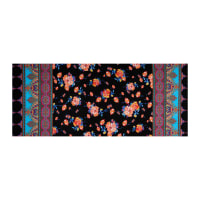 Fabtrends ITY Stretch Knit Paisley Floral Double Border Black/Multi