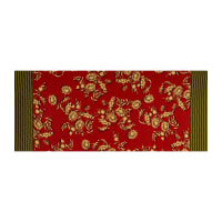 Fabtrends ITY Stretch Knit Floral Ikat Double Border Rust/Olive