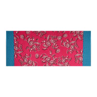 Fabtrends ITY Stretch Knit Floral Ikat Double Border Fuchsia/Turquoise
