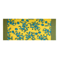 Fabtrends ITY Stretch Knit Floral Ikat Double Border Yellow/Blue