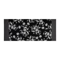 Fabtrends ITY Stretch Knit Floral Ikat Double Border Black/White