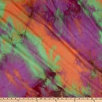 Fabtrends Mesh Tropical Tie Dye Orange/Purple/Green