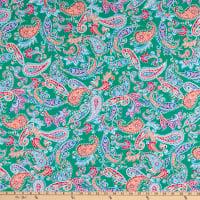 Fabtrends Millenium Stretch Bengaline Tropical Paisley Kelly