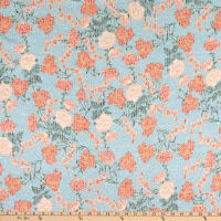 Fabtrends Young Rib Knit Floral on Branches Sky/Peach