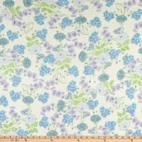 Fabtrends Young Rib Stretch Knit Floral on Branches White/Blue