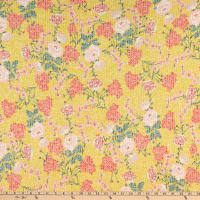 Fabtrends Young Rib Knit Floral on Branches Yellow
