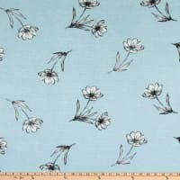Fabtrends Vienna Knit Dispersed Floral Blue/Charcoal/Ivory