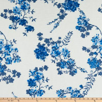 Fabtrends Vienna Stretch Knit Floral on Branches Ivory/Blue