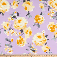Fabtrends Scuba Stretch Crepe Stretch Knit Bloomed Roses Lilac/Silver/Yellow