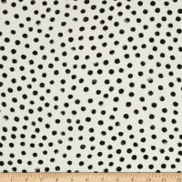 Fabtrends Wool Dobby Chiffon Watercolor Polka Dot Cream/Black/Grey