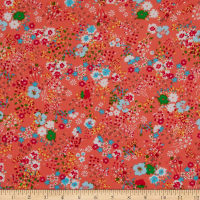 Fabtrends Wool Dobby Chiffon Floral Fireworks Coral Multi