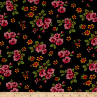 Fabtrends Wool Dobby Chiffon Floral Black Multi