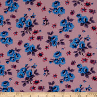 Fabtrends Wool Dobby Chiffon Floral Mauve/Blue