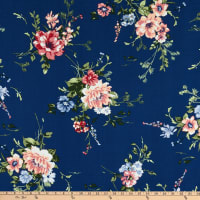 Fabtrends Heavy Slub Linen Look Floral Denim/Rose