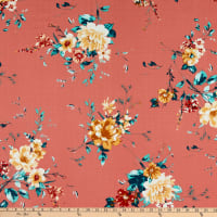 Fabtrends Heavy Slub Linen Look Floral Terracotta/Mint