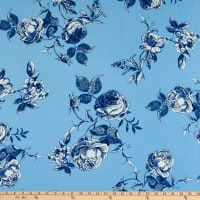 Fabtrends Heavy Slub Linen Look Floral Blue/Denim