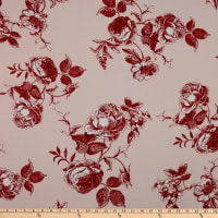 Fabtrends Heavy Slub Linen Look Floral Blush/Red