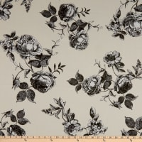 Fabtrends Heavy Slub Linen Look Floral Ivory/Charcoal