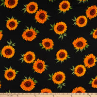Fabtrends Heavy Slub Linen Look Sunflower Black/Gold