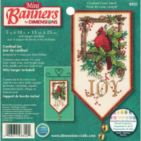 """Dimensions Mini Counted Cross Stitch Kit 10"""" Long-Cardinal Joy Banners (14 Count)"""