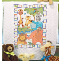 """Dimensions Baby Hugs Quilt Stamped Cross Stitch Kit 34""""X43""""-Mod Zoo"""