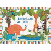 """Dimensions/Baby Hugs Counted Cross Stitch Kit 12""""X9""""-Mod Zoo Birth Record (14 Count)"""