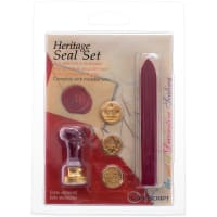 Manuscript Short Handle 3 Coin Sealing Set W/Wax-Heritage W/Red