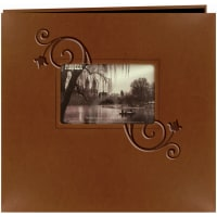 "Pioneer Embossed Leatherette Post Bound Album 12""X12""-Brown W/Floral"