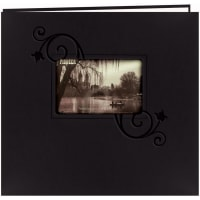 "Pioneer Embossed Leatherette Post Bound Album 12""X12""-Black W/Floral"
