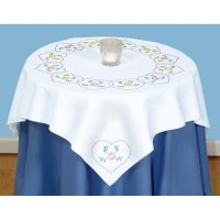 """Jack Dempsey Stamped White Perle Edge Table Topper 35""""X35""""-Starburst Of Hearts"""