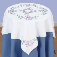 """Jack Dempsey Stamped White Perle Edge Table Topper 35""""X35""""-Butterflies"""