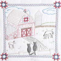 """Jack Dempsey Stamped White Wall Or Lap Quilt 36""""X36""""-Barn"""
