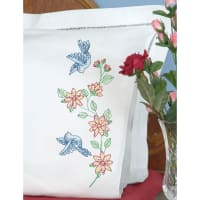 Jack Dempsey Stamped Pillowcases W/White Perle Edge 2/Pkg-Birds