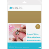 """Silhouette Printable Scratch-Off Sticker Sheets 8.5""""X11"""" 5pk-Gold"""