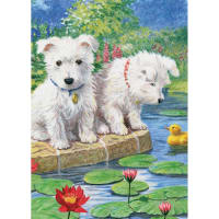 "Mini Color Pencil By Number Kit 5""X7""-Westie Pups"