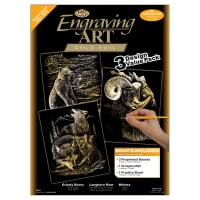 """Foil Engraving Art Kit Value Pack 8.75""""X11.5""""-Gold - Grizzly Bears, Rams & Wolves"""