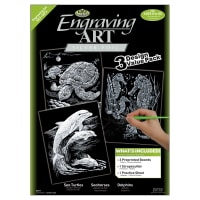 """Foil Engraving Art Kit Value Pack 8.75""""X11.5""""-Silver - Turtle, Sea Horse & Dolphins"""