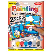 """My First Paint By Number Kit 8.75""""X11.375"""" 2/Pkg-Train & Boat"""