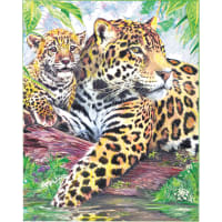 "Color Pencil By Number Kit 8.75""X11.75""-Jaguar Family"