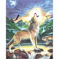 """Color Pencil By Number Kit 8.75""""X11.75""""-Wolf At Night"""