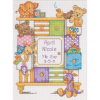 """Dimensions/Baby Hugs Counted Cross Stitch Kit 9""""X12""""-Baby Drawers Birth Record (14 Count)"""