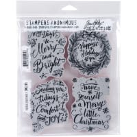 "Tim Holtz Cling Stamps 7""X8.5""-Doodle Greetings #1"