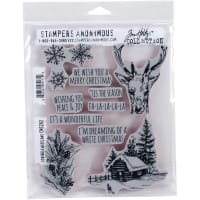 "Tim Holtz Cling Stamps 7""X8.5""-Scribble Woodland"