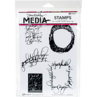 "Dina Wakley Media Cling Stamps 6""X9""-Scribbled Text Elements"