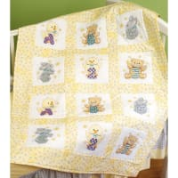 "Janlynn Stamped Cross Stitch Quilt Blocks 9""X9"" 12/Pkg-ABC 123"