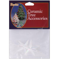 "Ceramic Christmas Tree Stars 2.75""X1.875"" 2/Pkg-Iridescent"
