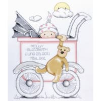 "Tobin Counted Cross Stitch Kit 13""X15""-Baby Buggy Girl Birth Record (14 Count)"