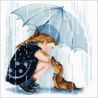"""RIOLIS Counted Cross Stitch Kit 9.75""""X9.75""""-Under My Umbrella (14 Count)"""