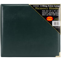 "Pioneer 3-Ring Sewn Cover Album 12""X12""-Hunter Green Oxford"